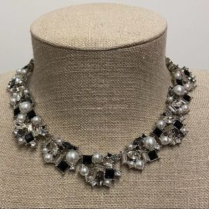 WHBM Black & White Crystal Statement necklace